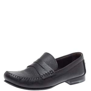 Bottega Veneta Black Leather Austin Penny Loafers Size 41