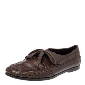 Bottega Veneta Brown Intrecciato Leather Driving Loafer Size 42