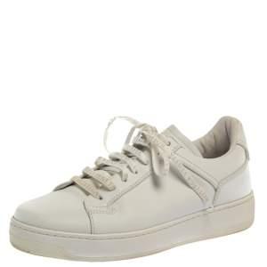 Bottega Veneta White Leather Lace Up Sneakers Size 41