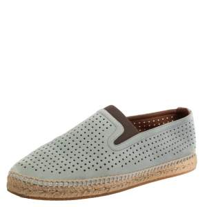 Bottega Veneta Blue Perforated Suede Slip On Espadrilles Size 42