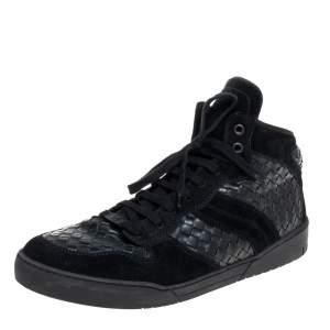 Bottega Veneta Black Suede and Intrecciato Leather High Top Lace Up Sneaker  Size 43.5