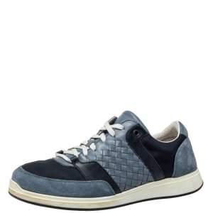 Bottega Veneta Blue Suede And Nylon Low Top Sneakers Size 42