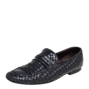 Bottega Veneta Black Intrecciato Leather Loafer Size 42.5