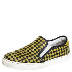 Bottega Veneta Yellow/Black Intrecciato Leather Slip On Sneakers Size 43
