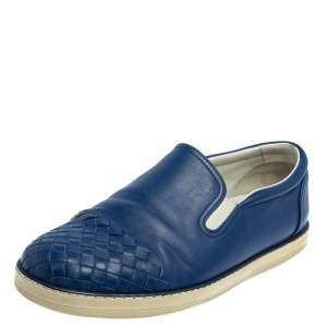 Bottega Veneta Blue Intrecciato Leather Slip On Sneakers Size 41