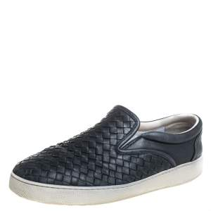 Bottega Veneta Black Leather Intrecciato Low Top Sneakers Size 40.5
