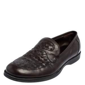 Bottega Veneta Brown Intrecciato Leather Slip On Loafers Size 45