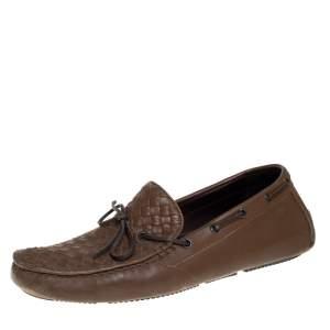 Bottega Veneta Brown Intrecciato Leather Bow Slip On Loafers Size 43