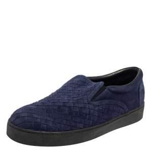 Bottega Veneta Navy Blue Intreciato Suede Slip on Sneakers Size 44