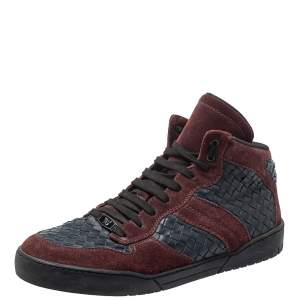 Bottega Veneta Burgundy/Navy Blue Suede And Intrecciato Leather High Top Lace Up Sneakers Size 43