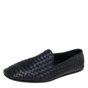 Bottega Veneta Black Intrecciato Leather Smoking Slippers Size 42.5