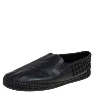 Bottega Veneta Black Intrecciato Leather and Fabric Espadrille Slip On Loafers Size 41