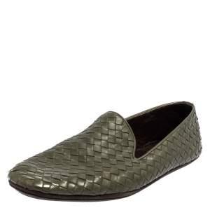 Bottega Veneta Green Intrecciato Leather Smoking Slippers Size 43