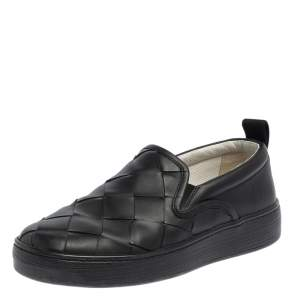 Bottega Veneta Black Intrecciato Leather Slip On Sneakers Size 40
