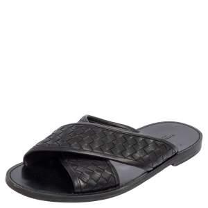 Bottega Veneta Black Intrecciato Leather Cross Strap Flat Slides Size 42
