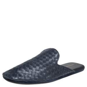 Bottega Veneta  Blue Intrecciato Leather Fiandra Mules Size 42