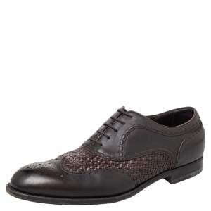 Bottega Veneta Black Intrecciato And Leather Brogue Oxfords Size 45