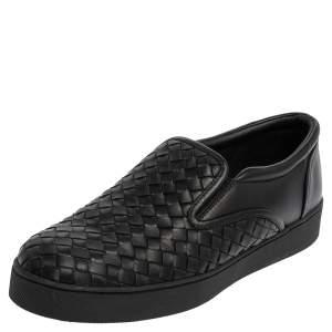 Bottega Veneta Black Intrecciato Leather Dodger Slip On Sneakers Size 40