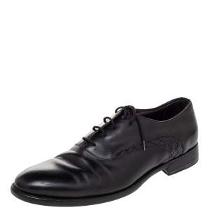 Bottega Veneta Black Intrecciato Leather Lace Up Oxford Size 43