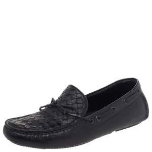 Bottega Veneta Black Intrecciato Leather Cervo Wave Driver Bow Slip On Loafers Size 40
