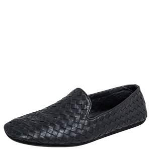 Bottega Veneta Black Intrecciato Leather Smoking Slippers Size 39
