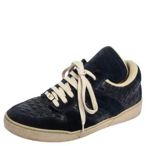 Bottega Veneta Navy Blue Intrecciato Leather and Suede Lace Up Low Top Sneakers Size 41