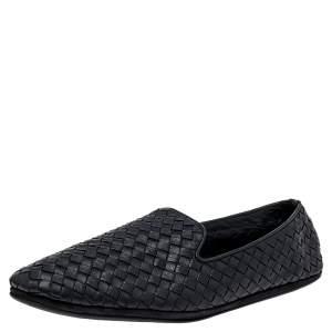 Bottega Veneta Black Intrecciato Leather Smoking Slippers Size 42