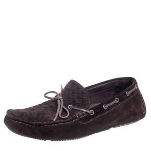 Bottega Veneta Dark Brown Intrecciato Leather Bow Slip On Loafers Size 43