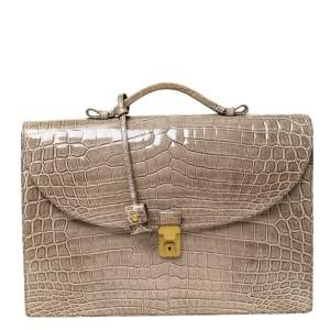Bottega Veneta Grey Crocodile Briefcase