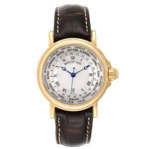 Breguet Silver 18K Yellow Gold Marine Hora Mundi 3700 Men's Wristwatch 38 MM
