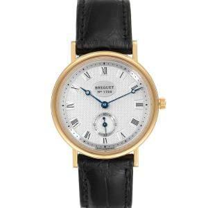 Breguet Silver 18K Yellow Gold Classique 3910BA Men's Wristwatch 34 MM