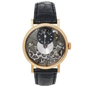 Breguet Black 18K Rose Gold Alligator Leather Tradition 7027Br/G9/9V6 Men's Wristwatch 37 MM