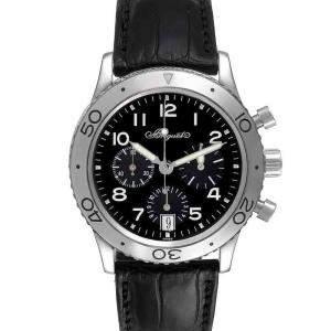 Breguet Black Stainless Steel Transatlantique Type XX Flyback 3820ST Men's Wristwatch 39.5 MM