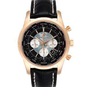 Breitling Black 18K Rose Gold Transocean Chronograph Unitime RB0510 Men's Wristwatch 46 MM