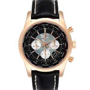 ساعة يد رجالية بريتلينغ ترانس أوشن كرونوغراف يونيتايم RB0510   سوداء 46 مم