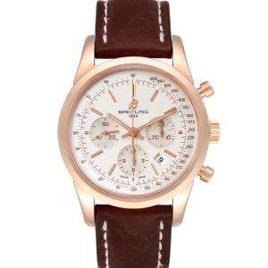 Breitling Silver 18k Rose Gold Transocean RB0152 Men's Wristwatch 43 MM