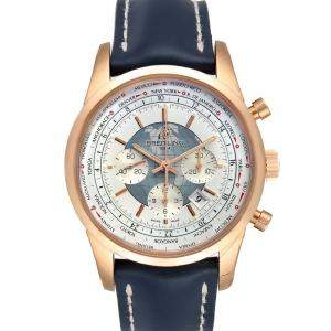Breitling Silver 18K Rose Gold Transocean Chronograph Unitime RB0510 Men's Wristwatch 46 MM