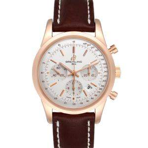 Breitling Silver 18k Rose Gold Transocean RB0152 Men's Wristwatch 43 MM