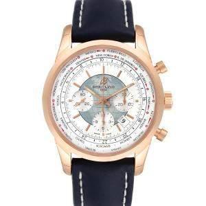 Breitling White 18K Rose Gold Transocean Chronograph Unitime RB0510 Men's Wristwatch 46 MM