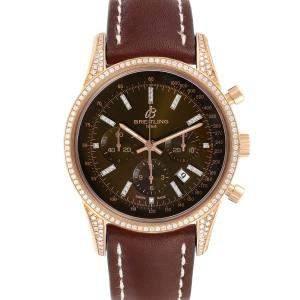 Breitling Brown Diamonds 18K Rose Gold Transocean RB0152 Men's Wristwatch 43 MM