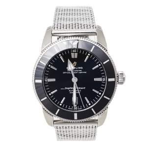 ساعة يد رجالية بريتلينغ سوبراوشان هيريتاغ AB2020 ستانلس ستيل سوداء 46 مم