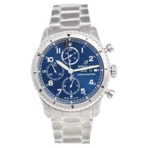 ساعة يد رجالية بريتلينغ أفياتور 8 A13316101C1A1 ستانلس ستيل زرقاء 43 مم
