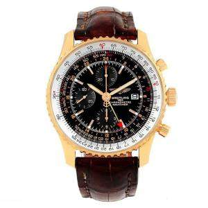 Breitling Black 18K Rose Gold Navitimer World Men's Wristwatch 46MM