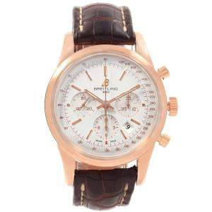 Breitling Silver 18K Rose Gold Transocean Chronograph Men's Wristwatch 43MM