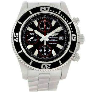 Breitling Abyss Black Stainless Steel Aeromarine SuperOcean II A13341 Men's Wristwatch 44MM