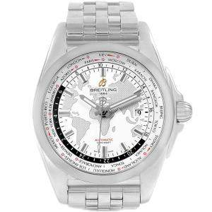 Breitling White Stainless Steel Galactic Unitime World Time WB3510 Men's Wristwatch 44MM