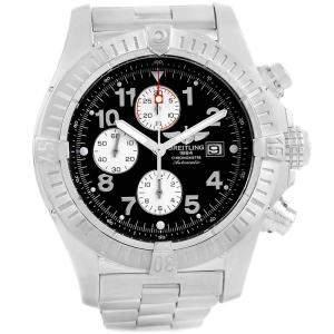 Breitling Black Stainless Steel Aeromarine Super Avenger A13370 Men's Wristwatch 48 MM