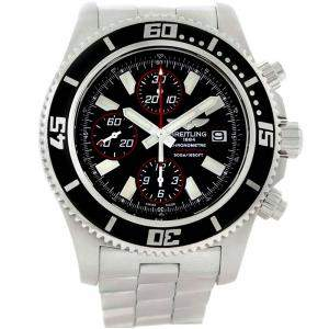 Breitling Black Stainless Steel Aeromarine SuperOcean II Chronograph A13341 Men's Wristwatch 44 MM