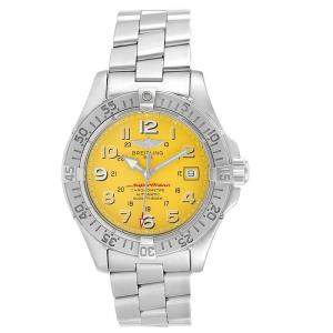 Breitling Yellow Stainless Steel Superocean II A17360 Men's Wristwatch 42 MM