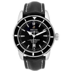 Breitling Black Leather and Stainless Steel Superocean A17320 Men's Wristwatch 46MM